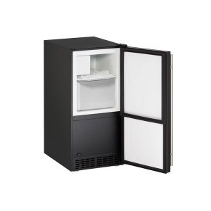 "U-LineAda Series 15"" Crescent Ice Maker With Black Solid Finish and Field Reversible Door Swing (115 Volts / 60 Hz)"