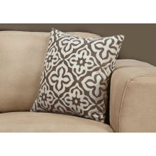 "PILLOW - 18""X 18"" / DARK TAUPE MOTIF DESIGN / 1PC"