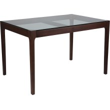 "Everett 31.5"" x 47.5"" Rectangular Solid Walnut Wood Table with Clear Glass Top and Exposed Industrial Hardware"
