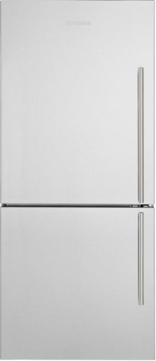"30"" Bottom Freezer/Fridge 18 cuft, wrapped stainless doors, stainless handles, left hinge"