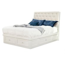 Monticello 4 Drawer Queen Condo Bed with Fabric or Bonded Leather Headboard Panel (2 on end/1 each s