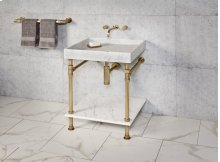 Ventus Bath Sink Antique Gray Limestone / 24in / Polished Nickel