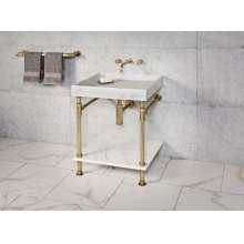 Ventus Bath Sink Carrara Marble / 24in / Aged Brass