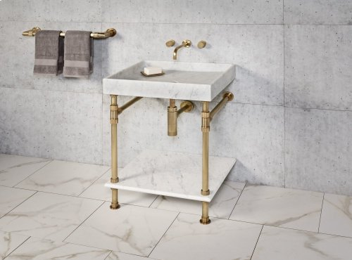 Ventus Bath Sink Carrara Marble / 24in / Aged Brass