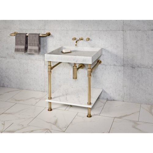 Ventus Bath Sink Carrara Marble / 36in / Polished Nickel