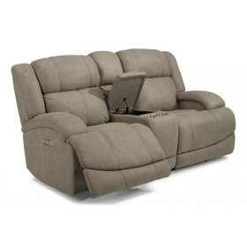 Declan Fabric Power Reclining Loveseat with Console and Power Headrests