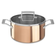 Tri-Ply Copper 6-Quart Low Casserole with Lid - Satin Copper