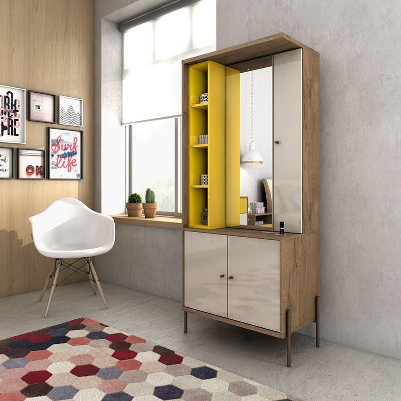 Joy Vanity Jewelry Armoire with Mirror in Yellow and Off White