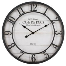 Cafe De Paris Shiplap Wall Clock