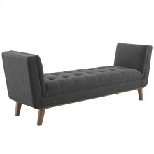 Haven Tufted Button Upholstered Fabric Accent Bench in Gray