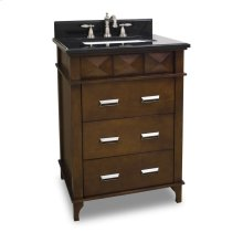 """25"""" vanity with rich chocolate brown finish and faceted carvings and clean lines with preassembled top and bowl."""