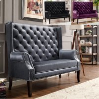 Odina Loveseat Chair Black Product Image