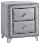 """Sophie Grey Velvet Night Stand - 23.5"""" W x 16"""" D x 27.5"""" H Product Image"""