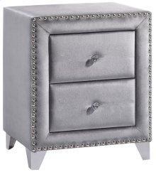 "Sophie Grey Velvet Night Stand - 23.5""L x 16""D x 27.5""H"