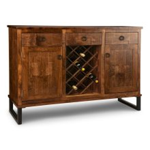 Cumberland Sideboard w/2 Wood Doors & 3/Dwrs & 2/Wood Adjust. & Wine Rack