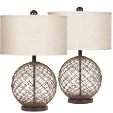 Exceptional Designs by Flash Regina Wrapped Transparent Glass Table Lamp, Set of 2