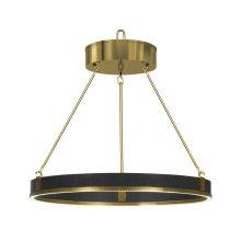 Round Contemporary Ebonised Oak & Brass Chandelier