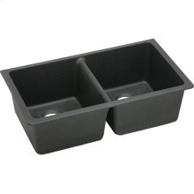 "Elkay Quartz Classic 33"" x 18-1/2"" x 9-1/2"", Equal Double Bowl Undermount Sink, Black"