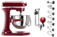 Exclusive Pro 600 Series 6 Quart Bowl-Lift Stand Mixer and Spiralizer Plus Attachment Bundle - Empire Red