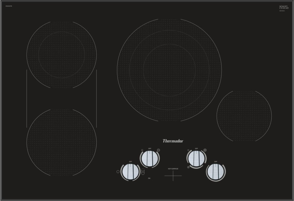 Thermador30-Inch Masterpiece® Knob Control Electric Cooktop, Black, Frameless