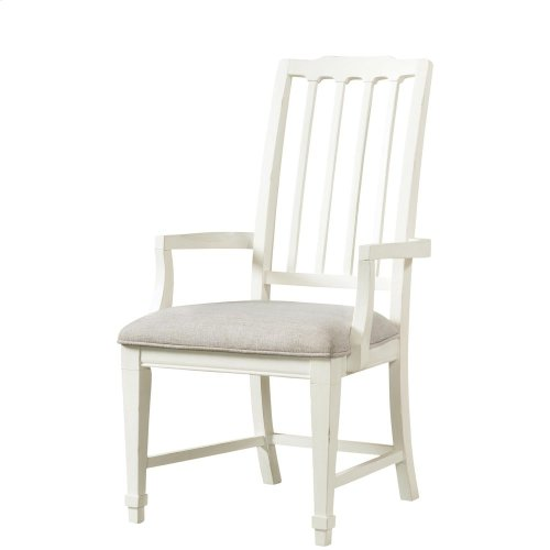 Grand Haven - Slat Back Upholstered Arm Chair - Feathered White Finish
