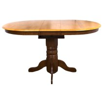 DLU-TBX4266CB-NLO  Pedestal Pub Table  Nutmeg with Light Oak Finish Butterfly Top