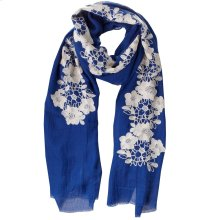 Sea Blue Floral Embroidered Scarf.