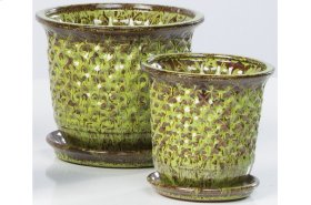 Green Fossette Petits Pots with Attached Saucers - Set of 2