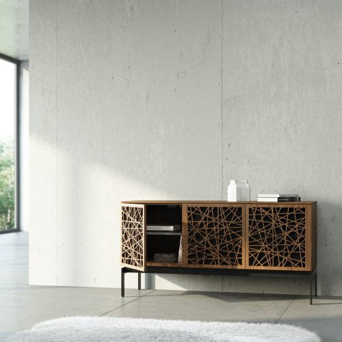 Triple Wide Cabinet W Console Base in Wheat Doors Charcoal Stained Ash