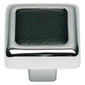 Paradigm Square Knob 1 1/4 Inch - CH & Black Leather