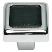 Paradigm Square Knob 1 1/4 Inch - CH & Black Leather