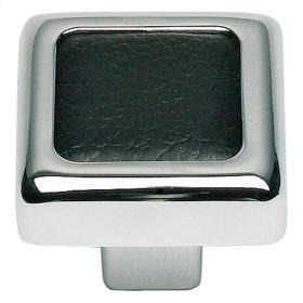 Paradigm Square Knob 1 1/4 Inch - PC & Black Leather