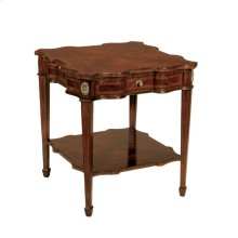 MAHOGANY SERPENTINE END TABLE