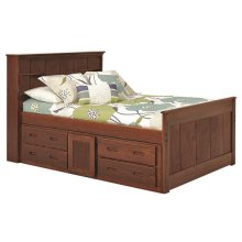 Heartland Full Bookcase Captain's Bed with Storage with options: Chocolate, Full
