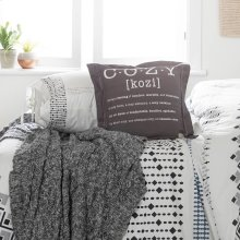 2 item kit - Throw Pillow Cozy Print with Cable-Knit Throw Blanket - Gray