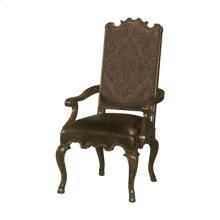 Dark Wellington Cottage Finished Armchair, Kodiak Leather and Paisley Upholstery