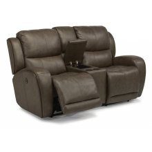 Chaz Leather Power Reclining Loveseat with Console