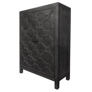 Silvestro Distressed Bar Cabinet, Antique Black