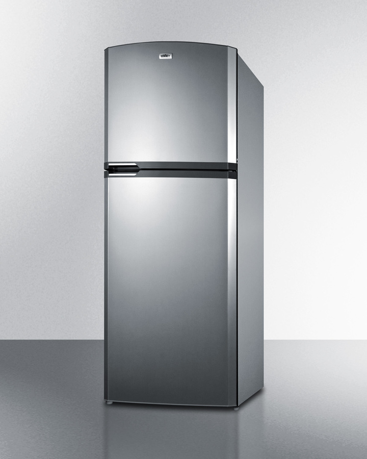 Summit Counter Depth Frost Free Refrigerator Freezer With Stainless Steel  Doors, Platinum Cabinet