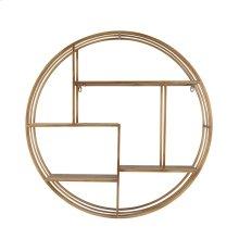 "Round 31.5"" Wood / Metal Wallshelf, Bronze"