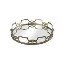 Hucknall Mirrored Tray in McComish Bronze with Iron Scrollwork (20-inch)