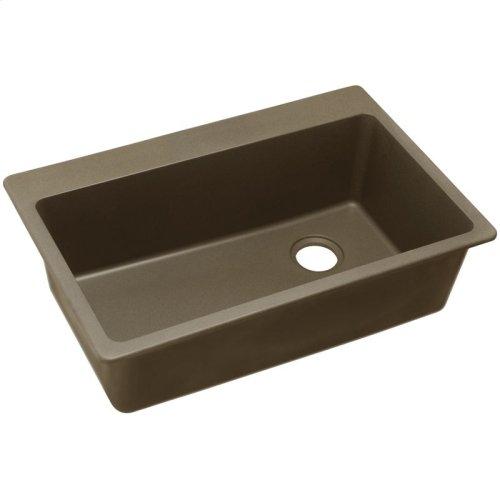 "Elkay Quartz Classic 33"" x 22"" x 9-1/2"", Single Bowl Drop-in Sink, Mocha"