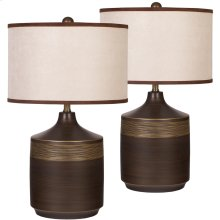 Exceptional Designs by Flash Karissa Brown Ceramic Table Lamp, Set of 2