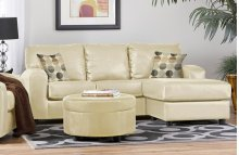 San Marino Ivory / Enterprise Cream PU Sofa