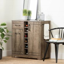 Bar Cabinet and Bottle Storage - Weathered Oak