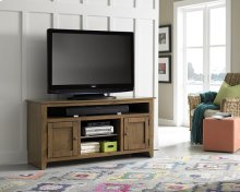 "58"" Medium Pine Entertainment Console - Pine, Dark Pine and Black Finish"