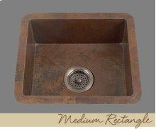 Solid Copper Medium Rectangle - Light Hammertone Pattern - Dark