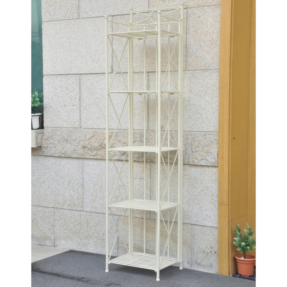 Antique White Iron Narrow 5-tier Iron Folding Bakers Rack - Antique White