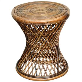 Keala Rattan Round Stool, Light Croco