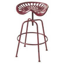 Adjustable Distressed Red Tractor Stool